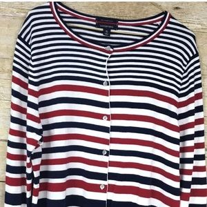 LANDS END cardigan supima stripe Red/Blue XL